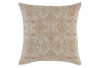 Accent Pillow - Gold + Ivory Damask 22X22