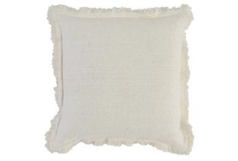 Accent Pillow - Ivory Linen + Cotton Fringe Edge 22X22