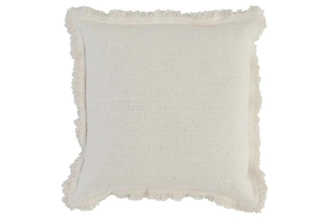 Accent Pillow - Ivory Linen + Cotton Fringe Edge 22X22 - 360