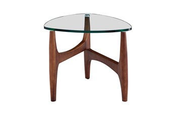 Stowe Glass 24 Inch End Table With Walnut Base