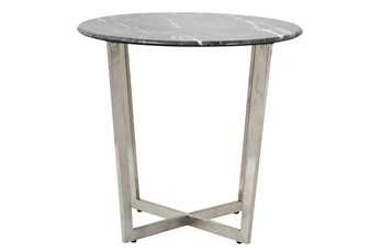Liv Black Faux Marble 24 Inch Round Side Table With Stainless Steel Base