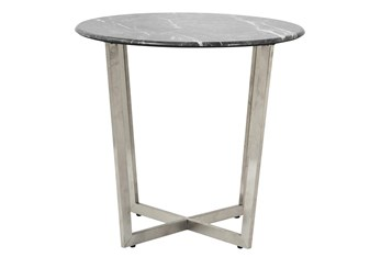 Liv Black Faux Marble 24 Inch Round End Table With Stainless Steel Base