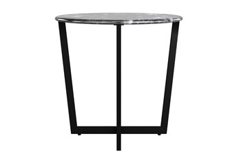 Liv Black Faux Marble 24 Inch Round Side Table With Black Base