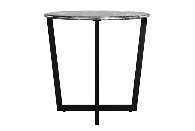 Liv Black Faux Marble 24 Inch Round End Table With Black Base - 360