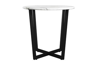 Liv White Faux Marble 24 Inch Round Side Table With Black Base