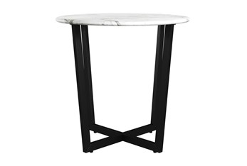 Liv White Faux Marble 24 Inch Round End Table With Black Base