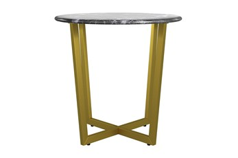 Liv Black Faux Marble 24 Inch Round Side Table With Matte Gold Base