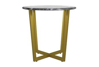 Liv Black Faux Marble 24 Inch Round End Table With Matte Gold Base