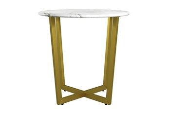 Liv White Faux Marble 24 Inch Round End Table With Matte Gold Base