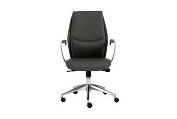 Karlstad Grey Vegan Leather Low Back Desk Chair