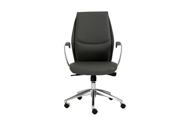 Karlstad Grey Faux Leather Low Back Desk Chair
