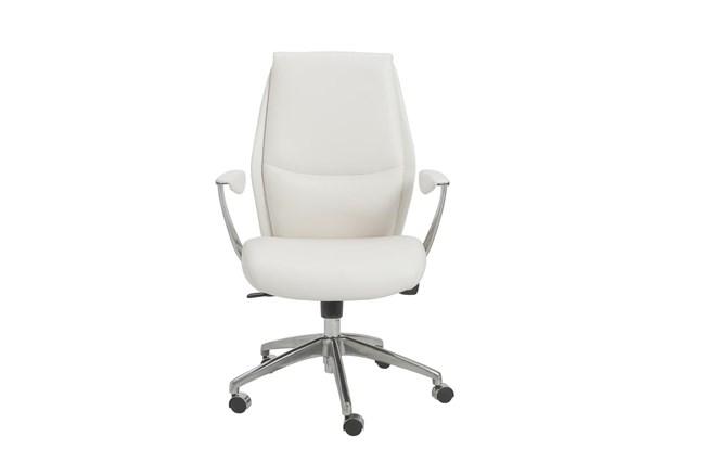 Karlstad White Vegan Leather Low Back Desk Chair - 360