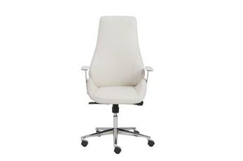 Viborg White Vegan Leather And Chrome High Back Desk Chair