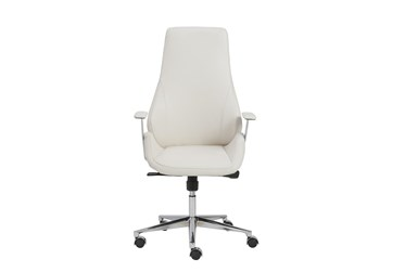 Viborg White Faux Leather And Chrome High Back Desk Chair
