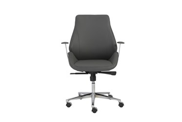 Viborg Grey Faux Leather And Chrome Low Back Desk Chair