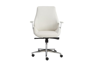 Viborg White Faux Leather And Chrome Low Back Desk Chair
