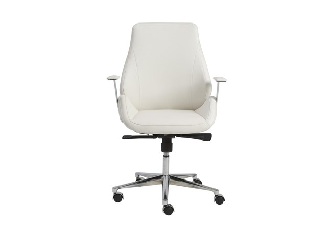 Viborg White Vegan Leather And Chrome Low Back Desk Chair - 360