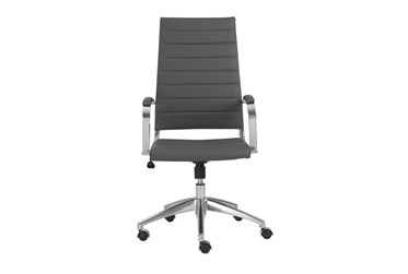 Kolding Grey Faux Leather High Back Desk Chair