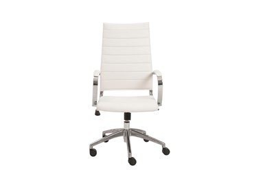 Kolding White Faux Leather High Back Desk Chair