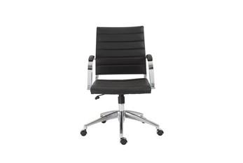 Kolding Black Vegan Leather Low Back Desk Chair