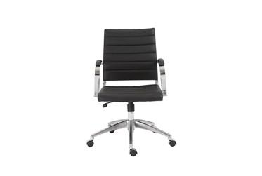 Kolding Black Faux Leather Low Back Desk Chair