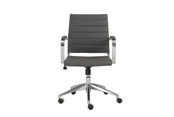 Kolding Grey Vegan Leather Low Back Desk Chair