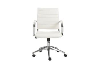 Kolding White Vegan Leather Low Back Desk Chair