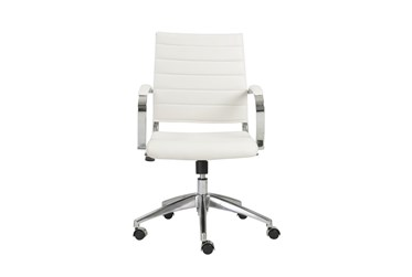 Kolding White Faux Leather Low Back Desk Chair