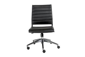 Kolding Black Vegan Leather Low Back Armless Desk Chair