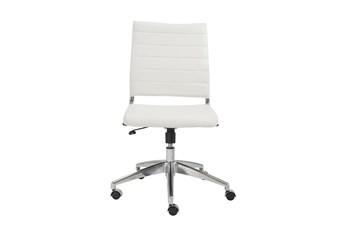 Kolding White Vegan Leather Low Back Armless Desk Chair
