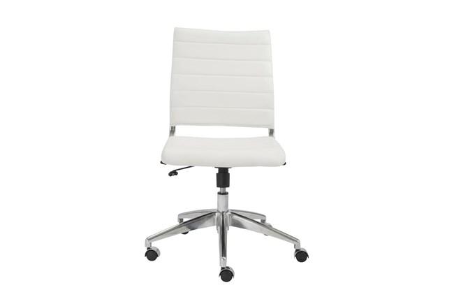 Kolding White Vegan Leather Low Back Armless Desk Chair - 360