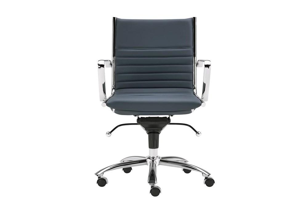 Copenhagen Blue Vegan Leather And Chrome Low Back Desk Chair