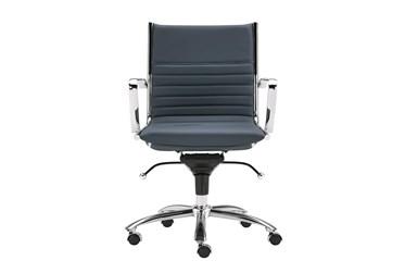 Copenhagen Blue Faux Leather And Chrome Low Back Desk Chair