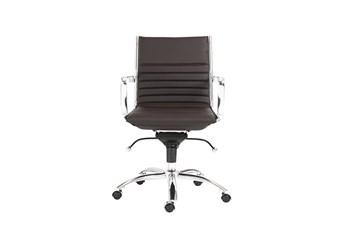 Copenhagen Brown Vegan Leather And Chrome Low Back Desk Chair
