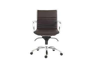 Copenhagen Brown Faux Leather And Chrome Low Back Desk Chair