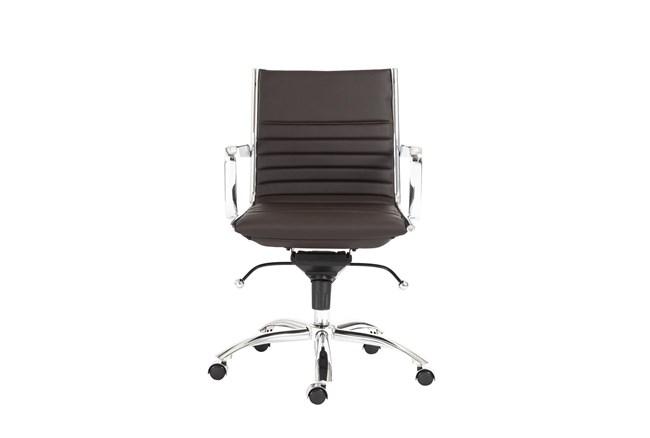 Copenhagen Brown Vegan Leather And Chrome Low Back Desk Chair - 360