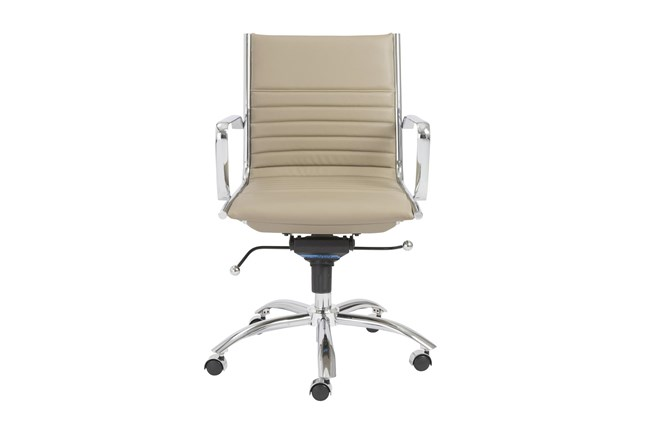 Copenhagen Taupe Vegan Leather And Chrome Low Back Desk Chair - 360