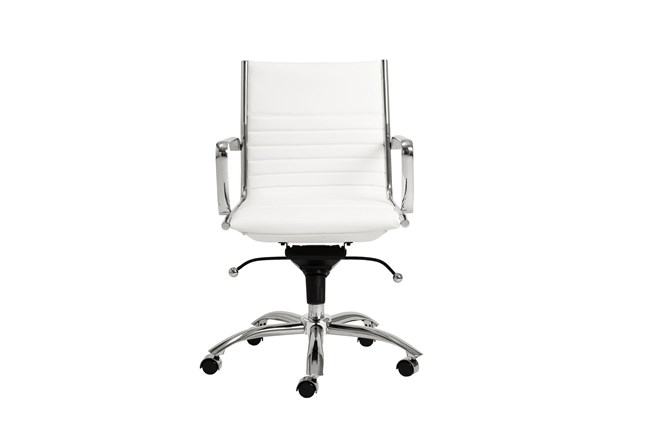 Copenhagen White Vegan And Leather And Chrome Low Back Desk Chair - 360