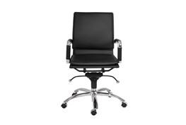 Skagen Black Vegan Leather And Chrome Low Back Desk Chair