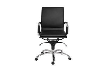 Skagen Black Vegan Leather And Chrome Low Back Desk Chair