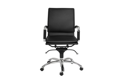 Skagen Black Vegan Leather And Chrome Low Back Desk Chair Living Spaces