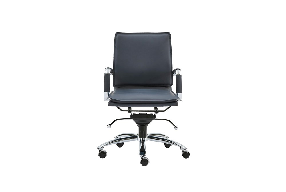 Skagen Blue Vegan Leather And Chrome Low Back Desk Chair