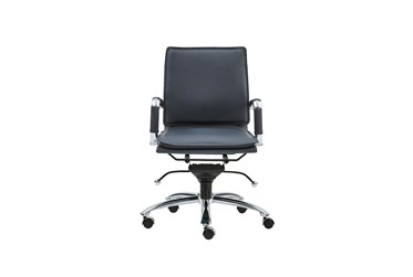 Skagen Blue Faux Leather And Chrome Low Back Desk Chair