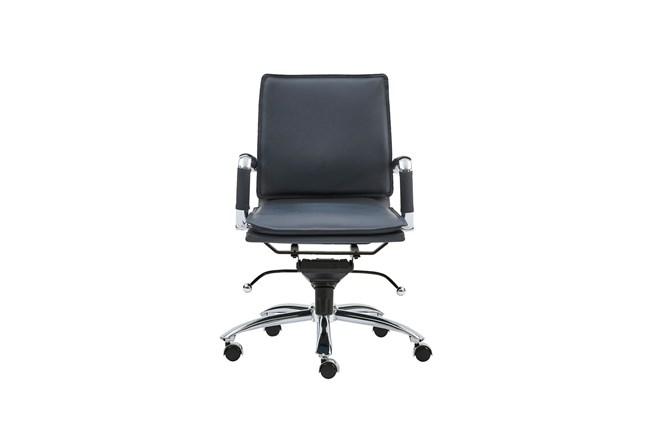 Skagen Blue Vegan Leather And Chrome Low Back Desk Chair - 360