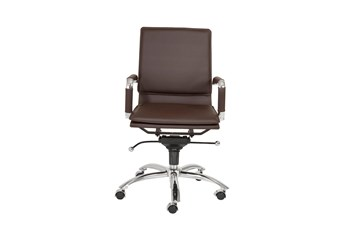 Skagen Brown Vegan Leather And Chrome Low Back Desk Chair