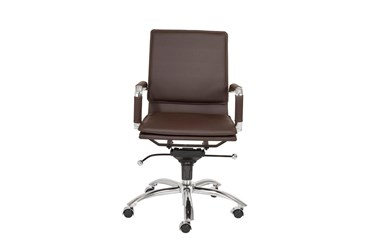 Skagen Brown Faux Leather And Chrome Low Back Desk Chair