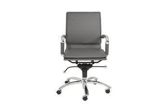 Skagen Grey Vegan Leather And Chrome Low Back Desk Chair