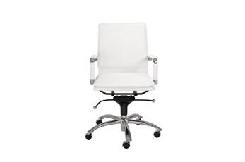 Skagen White Vegan Leather And Chrome Low Back Desk Chair