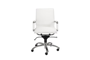 Skagen White Faux Leather And Chrome Low Back Desk Chair