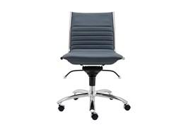 Copenhagen Blue Vegan Leather And Chrome Low Back Armless Desk Chair